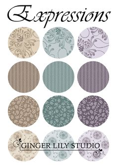 Expressions Collection by Ginger Lily Studio Small Flowers, Swatch, Lily, Pdf, Studio, Fabric, Collection, Design, Tejido