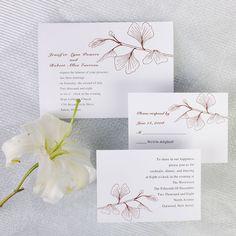 Simple brown ginkgo wedding invitations EWI228 as low as $0.94