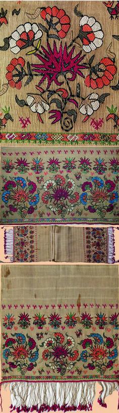 Antique Greek Island Embroidery Silk & Silver thread Sash Early 18th