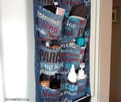 Turn on old pair of blue jean into a hanging organizer.  Take it with on your next vacation or hang in a teenager's bedroom -StowandTellU
