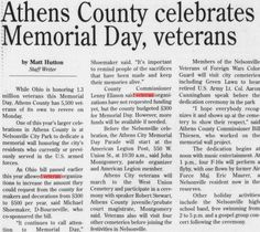 "Green and White. 24 May Page ""Athens County celebrates Memorial Day, veterans. Veterans Memorial Day, Athens, Ohio, University, Memories, Celebrities, Green, Memoirs, Columbus Ohio"