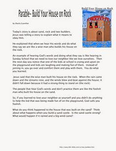 Sunday School Fun: The Parable of Building Your House Upon the Rock Youth Bible Lessons, Object Lessons, Lessons For Kids, Sunday School Lessons, School Fun, School Ideas, Building For Kids, School Building, Parables Of Jesus