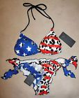 Sexy! GUESS Americana Flag Fourth 4th of July RED WHITE AND BLUE Bikini Swimsuit #ad
