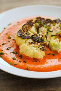 Seared Cauliflower Steaks with Red Pepper-Walnut Sauce