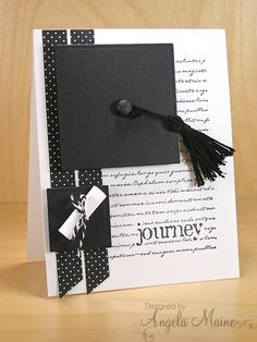 handmade graduation card: Graduation Journey by Arizona Maine ...luv the cute details and artistic look ... mortar board hat with tassel ... graduation certificate rolled up and tied with twine ... black and white ...