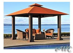sunbrella cabanas | OUTDOOR 12' x12' WICKER PERGOLA / GAZEBO / PATIO or POOL SIDE CABANA