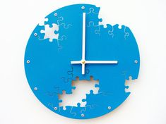 Puzzle IV, Medium Wall Clock, Painted Lagoon, Modern Wall Clock, Industrial Wall Clock, Unique Wall Clock by All15Designs