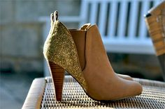 DIY glitter ankle boots