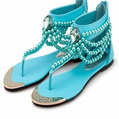 Women T Strap Rhinestone Beads Ankle Flat Sandals