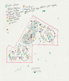 Piet Oudolf, 2012,  Coloured pen and pen on tracing paper. Hauser & Wirth Somerset is delighted to unveil an exhibition of Oudolf's drawings. Shown together for the first time, these preparatory designs reveal the creative processes and artistic vision behind some of Oudolf's most influential and innovative projects in the UK and further afield.