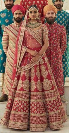 Sabyasachi Bridal Dress in Hot Red Color. With Threads Embroidery Dabka Zari,And Zardozi Work.Indian And Pakistani Designers Bridal Dresses Available in USA. Sabyasachi Lehenga Bridal, Indian Bridal Lehenga, Indian Bridal Outfits, Indian Bridal Wear, Indian Designer Outfits, Indian Dresses, Bridal Dresses, Lehenga Choli, Anarkali