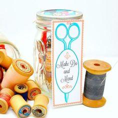 mending kit in a mason jar, crafts, mason jars