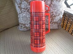 Vintage Red and Black Plaid Aladdin Thermos Bottle-EUC #Aladdin