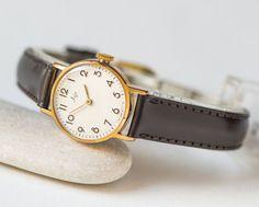 Minimalist women's watch gold plated lady watch Ray by SovietEra