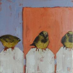 Birds On A Fence, 12x12 Mixed Media, painting by artist Kelley MacDonald
