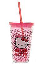 Hello Kitty Polka Dot Acrylic Travel Cup