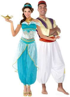 Heat up the Arabian nights during your magic carpet ride together wearing Jasmine & Aladdin Couples Costumes for adults. Wear these adult Aladdin costumes for a Jasmine And Aladdin Costume, Jasmine Halloween Costume, Halloween Costumes For Kids, Halloween Ideas, Couples Costumes Adult, Funny Couple Costumes, Couple Halloween Costumes For Adults, Group Costumes, Party