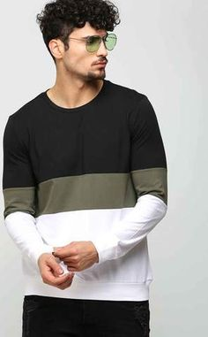 Olive Green Stripe Long Sleeve T Shirt Best Smart Casual Outfits, Stylish Mens Outfits, Suits And Sneakers, Mens Designer Shirts, Boys T Shirts, Mens Sweatshirts, Olive Green, Casual Shirts, Men Sweater