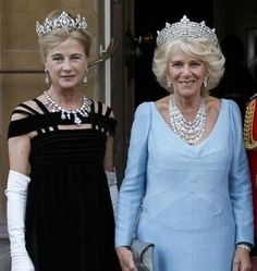 HRH The Duchess of Cornwall with Her Grace The Duchess of Wellington. The Duchess of Cornwall is wearing the FULL Grenville purare. Princess Elizabeth, Queen Elizabeth Ii, Royal Monarchy, Camilla Duchess Of Cornwall, Royal Uk, Prince Charles And Camilla, Lady In Waiting, Royal Tiaras, British Royal Families