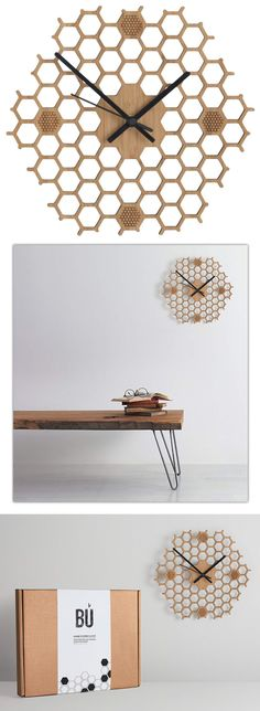 Honeycomb Inspired Wooden Wall Clock With Non Ticking Silent Sweep, Unique and Contemporary Style, Bamboo Home Decor (Hexagonal-Open) Bamboo Wall, Wooden Walls, Honeycomb, Contemporary Style, Clock, Amazon, Unique, Gifts, Handmade
