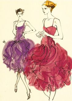Fashion illustration by Kenneth Paul Block, 1980, Halston ad.