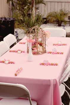 white pink and gold tables | Uploaded to Pinterest