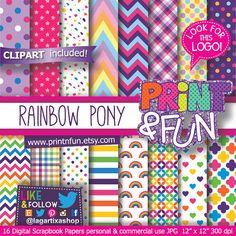 Rainbow Pony Digital Paper Patterns Background girly por Printnfun