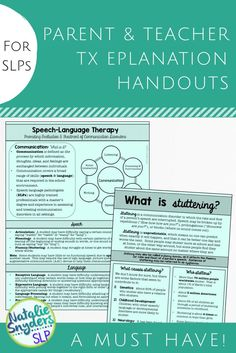 School SLPs, this set of parent/teacher handouts is a MUST HAVE! Quickly and easily discuss common disorders and potential academic impact, explain standardized testing, what speech language therapy covers, and more! By Natalie Snyders