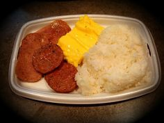 McDonald's local deluxe breakfast: spam, Portuguese sausage, eggs and rice. Yum!