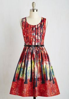 Festive Frondescence A-Line Dress in Fall by ModCloth - Red, Novelty Print, Print, Pockets, Daytime Party, Fit & Flare, Sleeveless, Fall, Woven, Better, Exclusives, Private Label, Mid-length