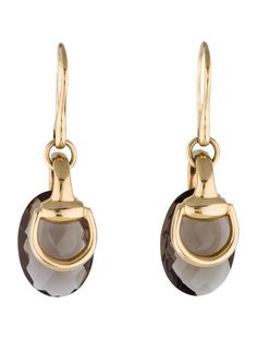 Gucci Smoky Quartz Horsebit Earrings