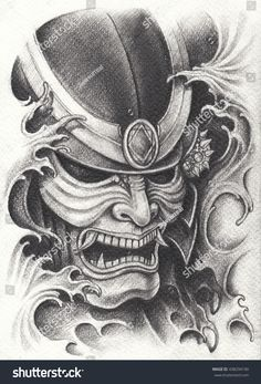 Find Samurai Warrior Tattoo Designhand Pencil Drawing stock images in HD and millions of other royalty-free stock photos, illustrations and vectors in the Shutterstock collection. Samurai Maske Tattoo, Samurai Warrior Tattoo, Warrior Tattoos, Japan Tattoo Design, New Tattoo Designs, Japanese Tattoo Designs, Mask Drawing, Hand Pencil Drawing, Pencil Drawings