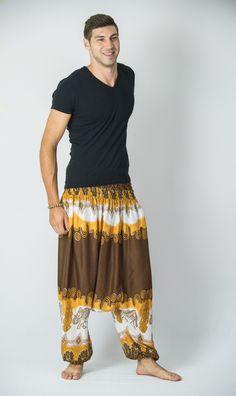 Solid Top Elephants Low Cut Men's Harem Pants in Gold Brown