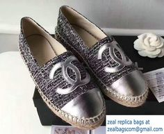 759be4e61f6 Chanel Tweed and Leather Espadrilles Gray Silver 2017