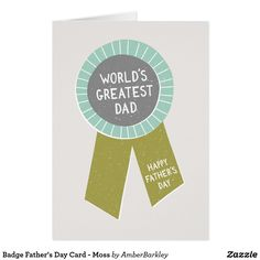 Badge Father's Day Card - Moss