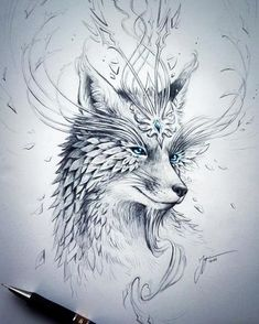 Spirit Fox – Original Drawing – Fantasy Pencil Art – Surreal Flower Fox Artwork Sketch – Symbols of Nature Series by JojoesArt / Demogram Fantasy Drawings, Fantasy Kunst, 3d Drawings, Fantasy Art, Fox Fantasy, Pencil Drawings Of Nature, Fantasy Tattoos, Drawing Sketches, Drawing Ideas