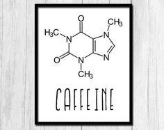 Caffeine Molecule Coffee Print Coffee Prints by printabold on Etsy - Trend Kitchen Decorating Chemistry Posters, Chemistry Art, Chemistry Teacher, Science Posters, Organic Chemistry, Poster Design, Science Art, Science Room, Coffee Art