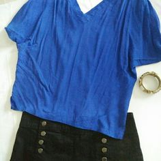 Cobalt blue casual top Beautiful color top to pair with a perfect statement piece. Size M but can fit a small as well. piko 1988 Tops Tees - Short Sleeve