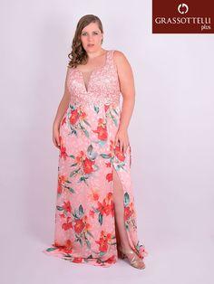 Vestido Longo Festa Renda Crepe Estampado Rosa Plus Size