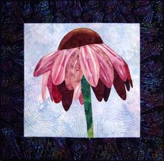 Solitary Cone Flower Art Quilt by Diane McGregor