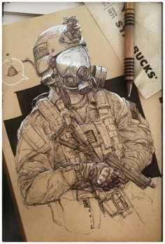 ArtStation - Smells like arse in here, Marc Lee Pencil Art Drawings, Art Sketches, Army Drawing, Character Art, Character Design, Fantasy Anime, Arte Hip Hop, Military Drawings, Arte Cyberpunk