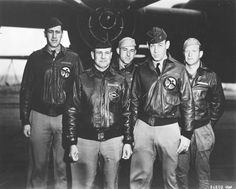 Lt. Col. Jimmy Doolittle (second from left) and his crew pose in front of a B-25 on the deck of the USS Hornet, April 18, 1942