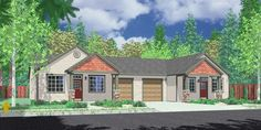 House front color elevation view for D-459 One Level Duplex House Plans, Ranch Duplex House Plans