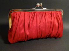 Bridal Clutch or Bridesmaid Clutch Red Silk Gathered Clutch CUSTOMIZE Holiday. $60.00, via Etsy.