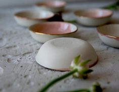 Mini bowls with gold trim. 29 CHF at www. Watercolor Rose, Organic Shapes, Tapas, Studio, Etsy Seller, Artisan, Chf, Ceramics, Dishes