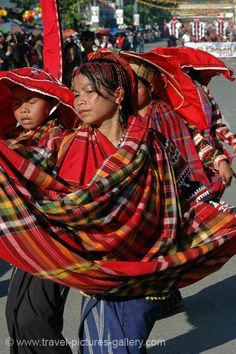 """""""T'boli"""" girls from Mindanao, island in southern Philippines, moving in traditional dance formation--T'boli weaving & patterns are among several Filipino indigenous groups' crafts known worldwide by collectors--"""