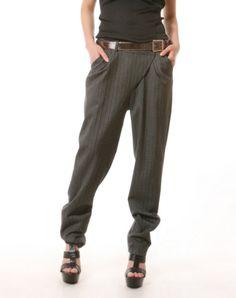 Unique unsymmetrical grey strip pants