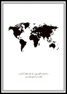 Wonderful world, poster med kort. Sort og hvid plakater og posters med citater og tekst. www.desenio.dk