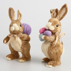 One of my favorite discoveries at WorldMarket.com: Brown Natural Fiber Bunnies with Eggs Set of 2