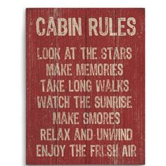 'Cabin Rules' Wall Art by Image Canvas Cabin Signs, Lake Signs, Lake Cabins, Cabins And Cottages, Wood Animals, Log Cabin Living, Little Cabin, Cozy Cabin, Guest Cabin